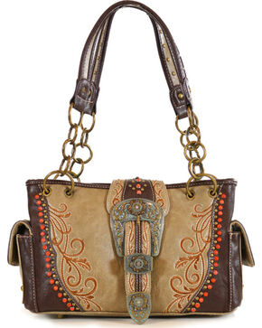 Montana West Women's Jeweled Buckle Concealed Carry Handbag, Tan, hi-res