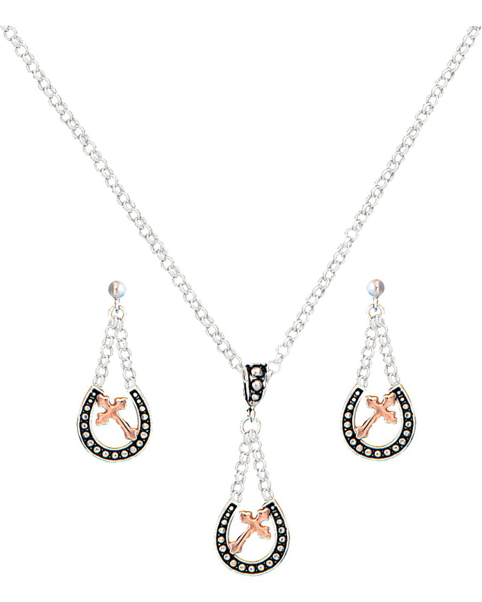 Montana Silversmiths Walking God's Path Jewelry Set, Silver, hi-res
