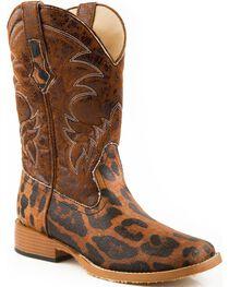 Roper Women's Leopard Print Western Boots, Gold, hi-res