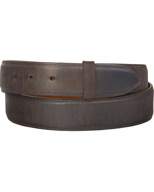 Lucchese Men's Straight Chocolate Burnished Goat Belt, Chocolate, hi-res