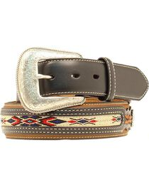 Nocona Leather Overlay Colorful Embroidered Belt, , hi-res