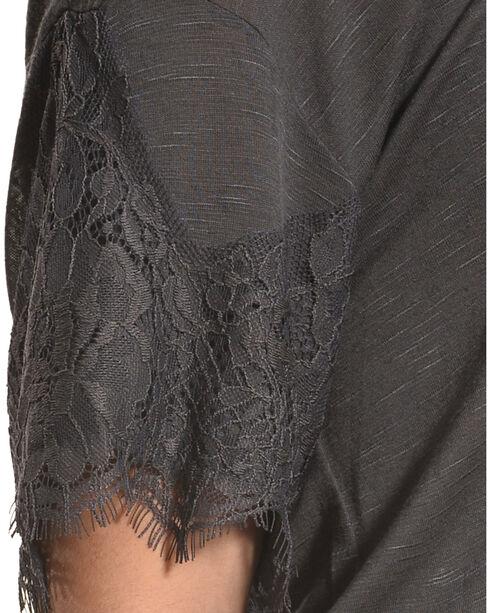 Eyeshadow Women's Scallop Lace Trim Short Sleeve Shirt, Charcoal, hi-res