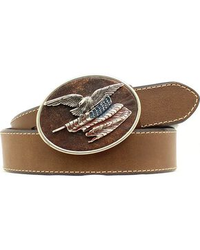 American Flag with Eagle Buckle Leather Belt, Med Brown, hi-res