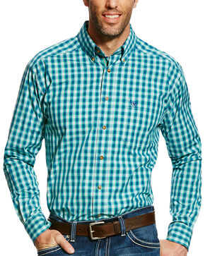 Ariat Men's Green Dimitri Plaid Western Shirt - Tall , Green, hi-res