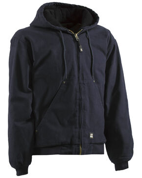 Berne Original Washed Hooded Jacket - Quilt Lined - XLT and 2XT, Midnight, hi-res