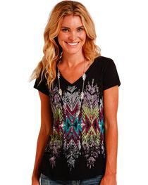 Panhandle Slim Women's Black Cap Sleeve Aztec Graphic Tee , , hi-res
