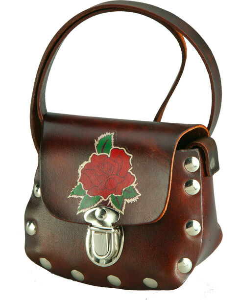Western Express Women's Brown Leather Rose Applique Shoulder Bag , Brown, hi-res