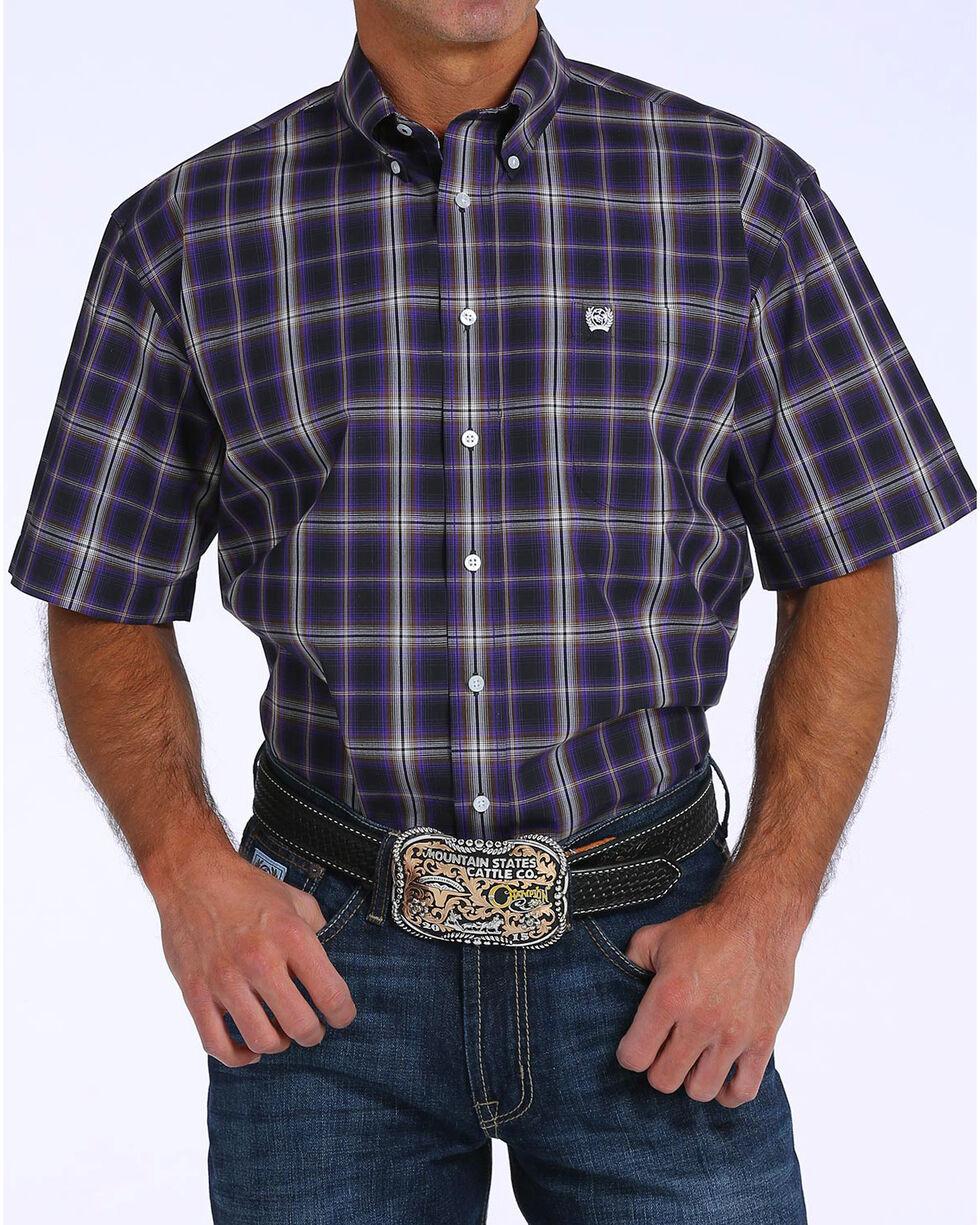 Cinch Men's Plaid Plain Weave Short Sleeve Shirt, Black, hi-res