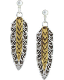 Montana Silversmiths Women's Long Feather Dangle Earrings, , hi-res