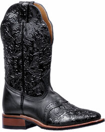 Boulet Black Torino Tooled Saddle Cowgirl Boots - Square Toe , , hi-res