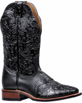 Boulet Black Torino Tooled Saddle Cowgirl Boots - Square Toe , Black, hi-res