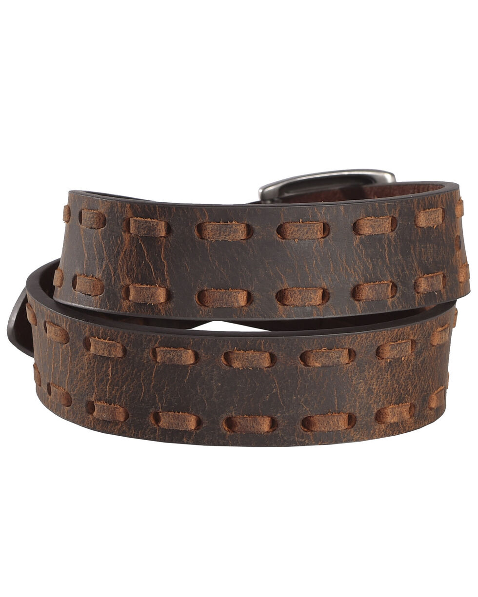Cody James Boys' Laced Edge Leather Belt, Brown, hi-res