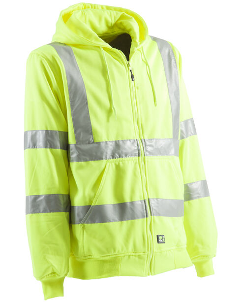 Berne Yellow Hi-Visibility Lined Hooded Sweatshirt - 5XL and 6XL, Yellow, hi-res