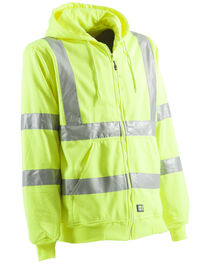 Berne Yellow Hi-Visibility Lined Hooded Sweatshirt - Tall 2XT, , hi-res