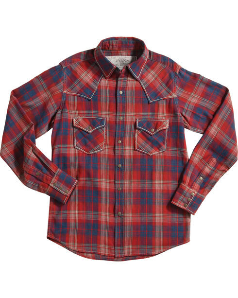 Ryan Michael Crimson Plaid Long Sleeve Shirt, Red, hi-res