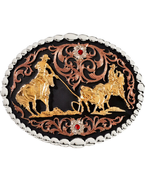 Montana Silversmiths Team Roper Belt Buckle, Silver, hi-res