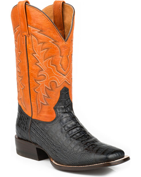 Roper Men's Caiman Belly Print Western Boots, Black, hi-res