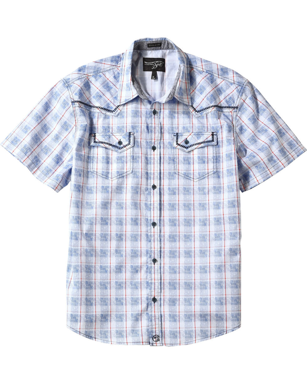 Moonshine Spirit® Men's Americana Plaid Short Sleeve Shirt, Blue, hi-res