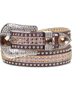 Angel Ranch Women's Sequin Belt, Brown, hi-res