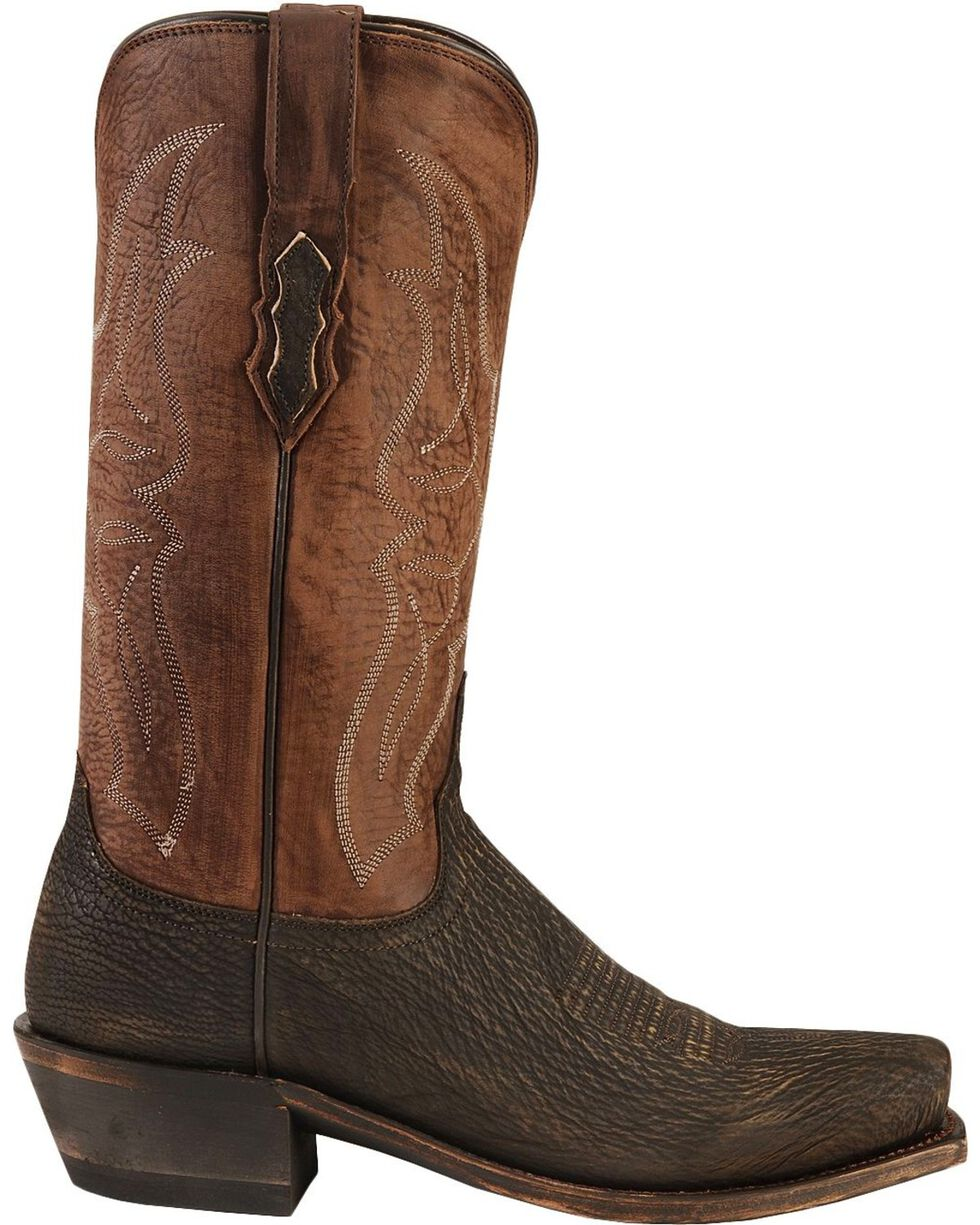 Lucchese Men's Exotic Shark Western Boots, Chocolate, hi-res