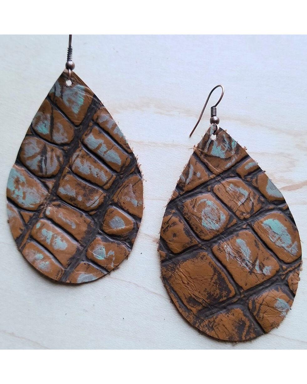 Jewelry Junkie Saddle Tan Gator Leather Teardrop Earrings, Tan, hi-res