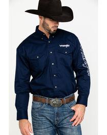 Wrangler Men's Navy Logo Western Shirt , , hi-res