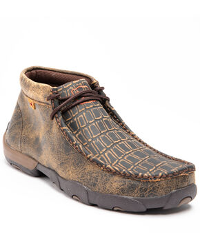 Twisted X Men's Caiman Print Driving Mocs - Moc Toe, Brown, hi-res
