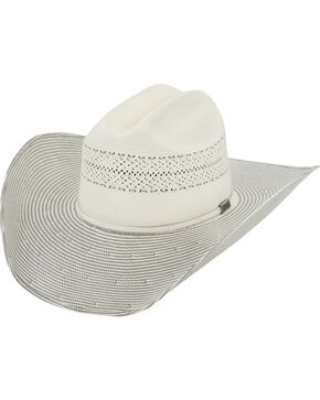 Larry Mahan Men's 10X Grey Cinch Straw Cowboy Hat, Ivory, hi-res