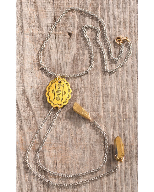 Gemelli Jewelry Women's Golden Concho Gemstone Necklace, Bronze, hi-res