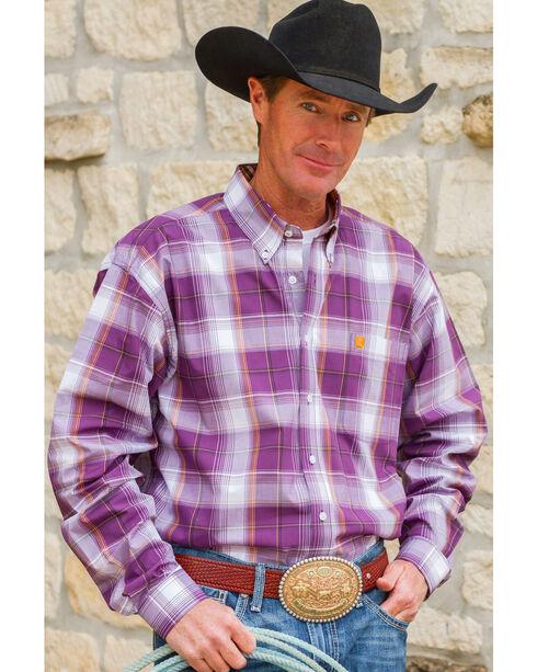 Cinch Men's Purple Single Pocket Long Sleeve Plaid Shirt - Big and Tall, Purple, hi-res