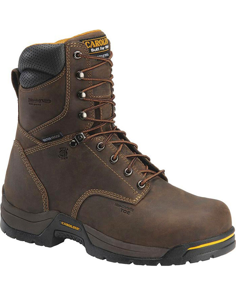 "Carolina Men's 8"" Waterproof CT Insulated Work Boots, Brown, hi-res"