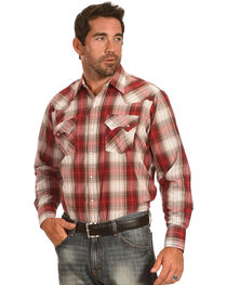 Ely Cattleman Men's Red Textured Plaid Sawtooth Pockets Snap Shirt, , hi-res