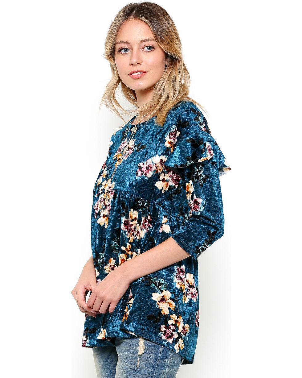 Ces Femme Women's Floral Velvet Top, Teal, hi-res