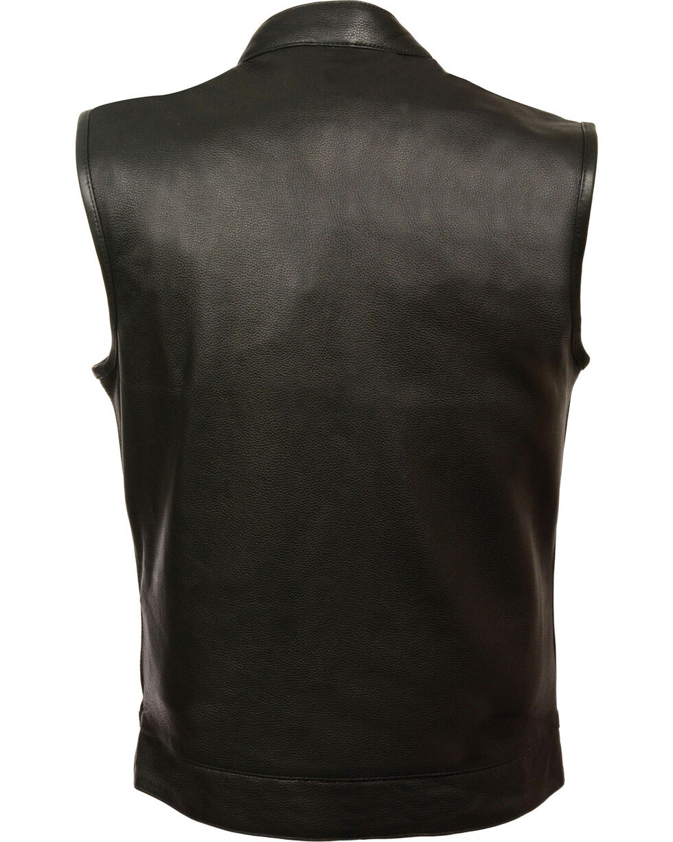 Milwaukee Leather Men's Open Neck Snap/Zip Front Club Style Vest, Black, hi-res