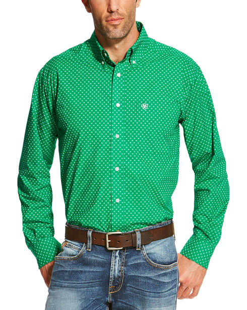 Ariat Men's Square Patterned Button Down Long Sleeve Shirt , Green, hi-res