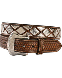 Nocona Men's Scalloped Diamond Concho Belt, , hi-res