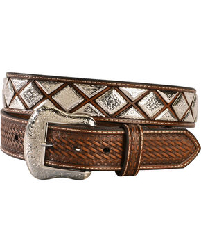 Nocona Men's Scalloped Diamond Concho Belt, Tan, hi-res