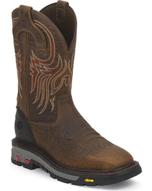Justin Men's Commander X5 Work Boots, Mahogany, hi-res