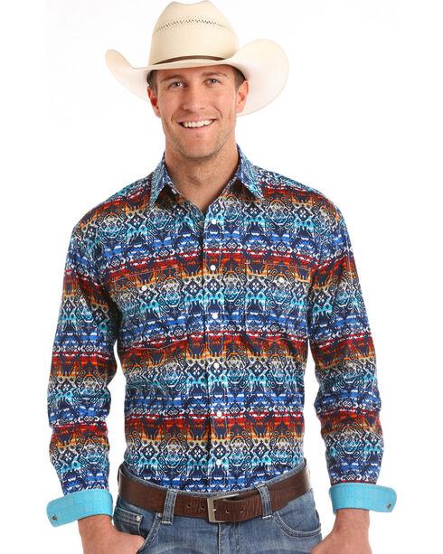 Rough Stock by Panhandle Men's Aztec Print Long Sleeve Shirt, Multi, hi-res