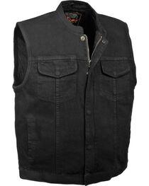 Milwaukee Leather Men's Concealed Snap Denim Club Vest - 3X, Black, hi-res