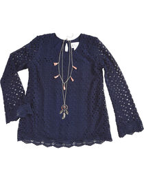 Shyanne Girls' Crochet Long Sleeve Top and Necklace Set, , hi-res