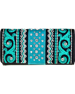 Montana West Women's Boot Scroll Embroidered Wallet, Black, hi-res
