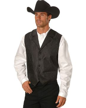 Scully Men's Paisley Print Western Vest, Black, hi-res