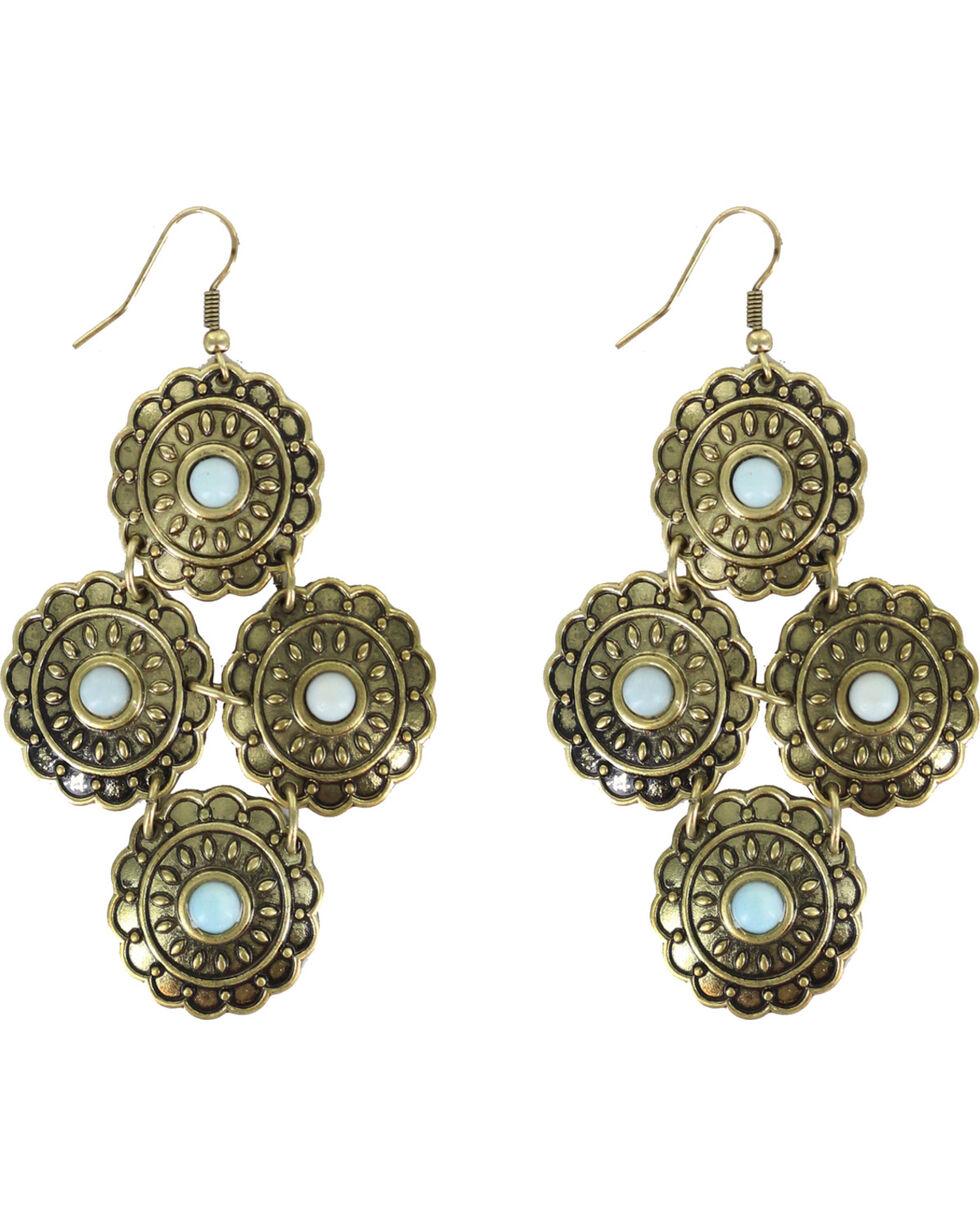 Shyanne Women's Sunset Four Concho Earrings, Bronze, hi-res
