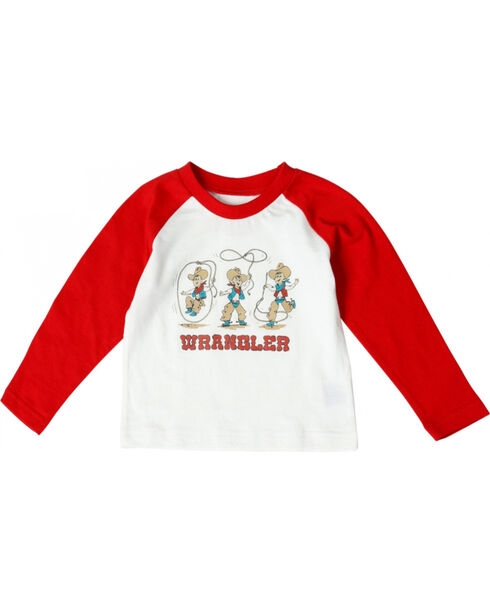 Wrangler All Around Baby Toddler Boys' Lasso Cowboy Long Sleeve Tee, White, hi-res