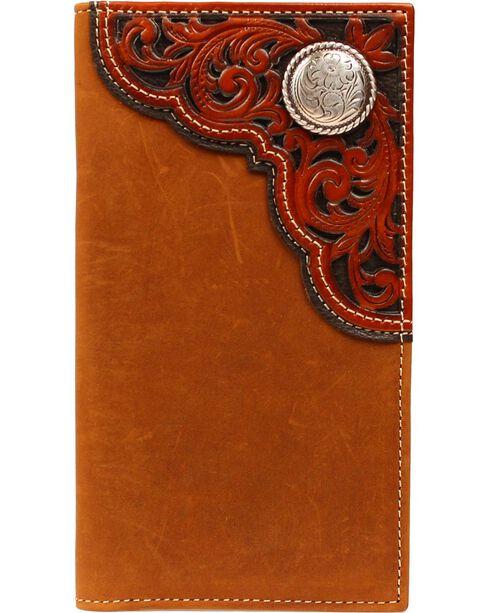 Nocona Tooled Overlay & Concho Rodeo Wallet, Aged Bark, hi-res