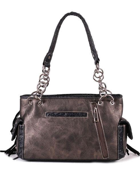 Savana Women's Sugar Skull Fringe Trimmed Handbag, Silver, hi-res