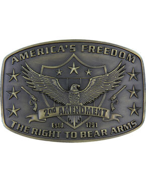 Montana Silversmith's 2nd Amendment Heritage Attitude Buckle, Gold, hi-res