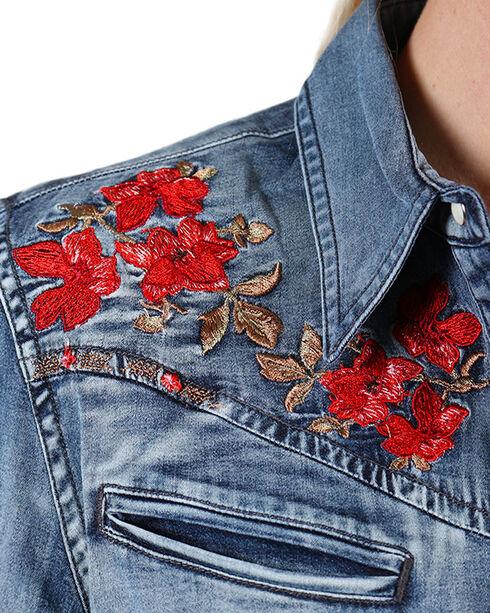 Grace In LA Women's Floral Embroidered Denim Long Sleeve Shirt, Blue, hi-res