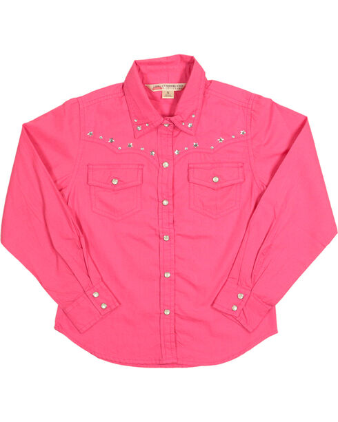Cumberland Outfitters Girl's Rhinestone Long Sleeve Shirt, Pink, hi-res